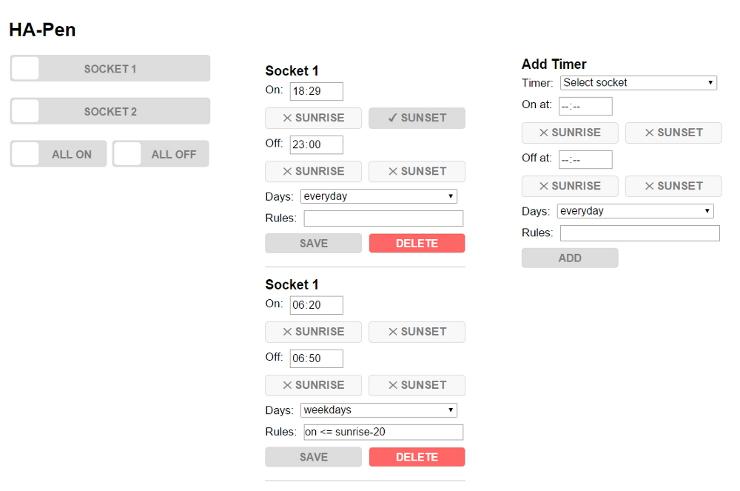 HA-Pen web interface
